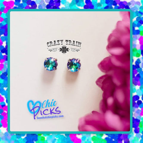 Crazy Train glam girl Nikel Plated Stud Sparkle Earrings in Turquoise women's fashion jewelry accessories at chic picks boutique