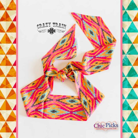 Crazy Train Aztec Patterned Haggard Headscarf women's fashion accessories at chic picks boutique