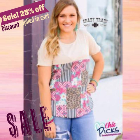 Crazy Train clothing on Sale Threes Knees Empire Line Multi Pattern Patchwork Top At Chic Picks
