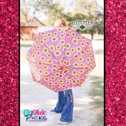 Crazy Train Pink Sunflower Umbrella At Chic Picks