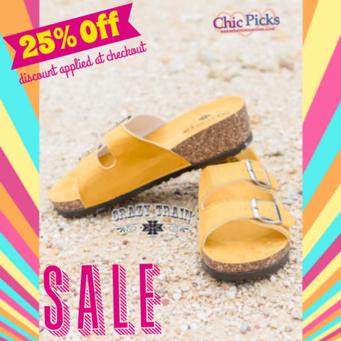 Crazy Train walking on sunshine yellow buckle summer Slides On Sale At Chic Picks