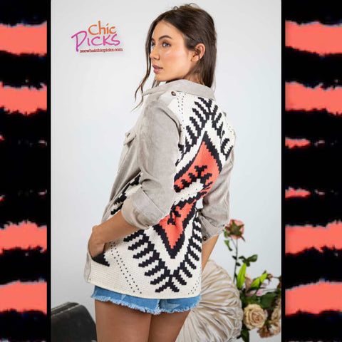 Davi and Dani Pebble Stone Washed Aztec Print Back Jacket At Chic Picks