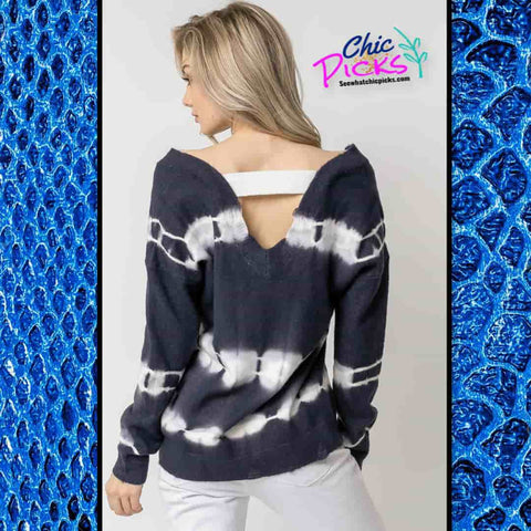 Davi and Dani Long Sleeve Tie Dye Accent Sweater Women's long Sleeve winter fall apparel at Chic Picks Boutique