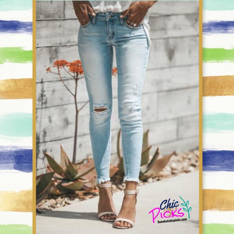 "KanCan Distressed Light Wash Skinny Jeans-Kan Kan-""Hard  KanCandy""-Distressed Can Can Jeans-Chic Picks"