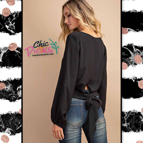 Yeesome Black Long Sleeve Cropped Blouse with Balloon Sleeves and a low bow tie ribbon detail women's fashion long sleeve tops at chic picks Boutique