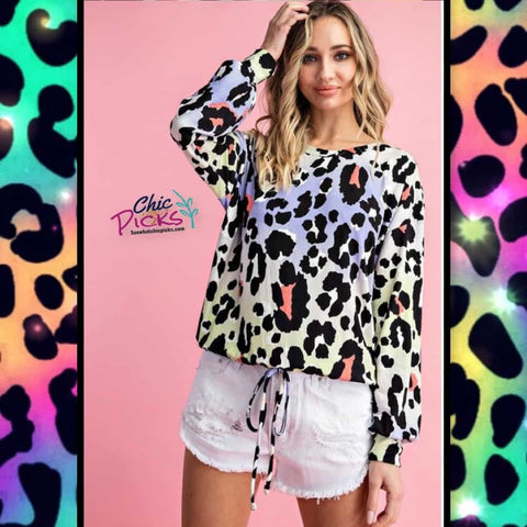 EEsome colorful leopard long sleeve pull waist top Women's fashion spring tops at chic picks boutique