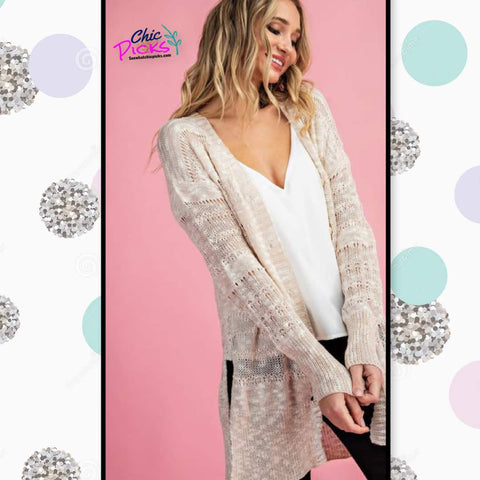 EEsome soft open knit cardigan with button front closure in beige  women's fashion spring cardigans at chic picks boutique