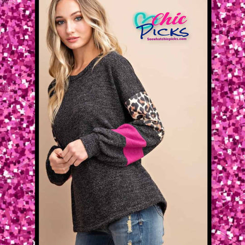 EEsome Something On Your Sleeve Color Block Leopard and Magenta Long Sleeve Knit Blouse At Chic Picks