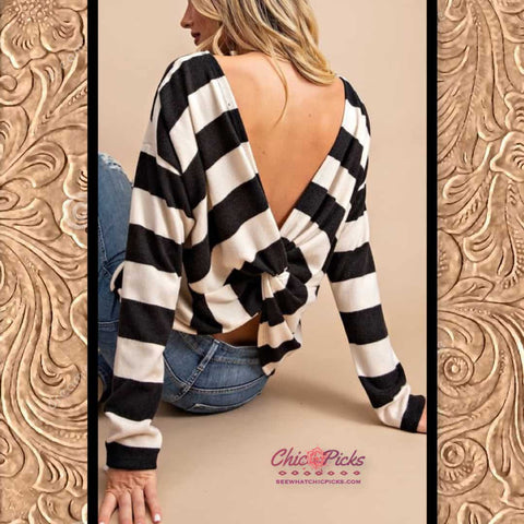 Eesome Black Twist Back striped Sweater do the twist women's fall winter fashion sweaters tops at Chic Picks boutique