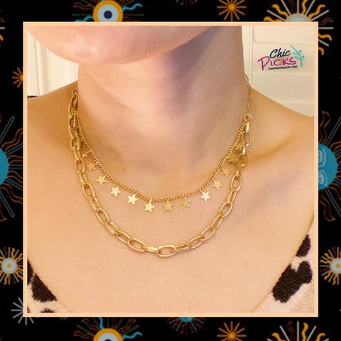 Ellison + Young Double the Stars chain gold necklace set Women's fashion jewelry and accessories at chic picks boutique