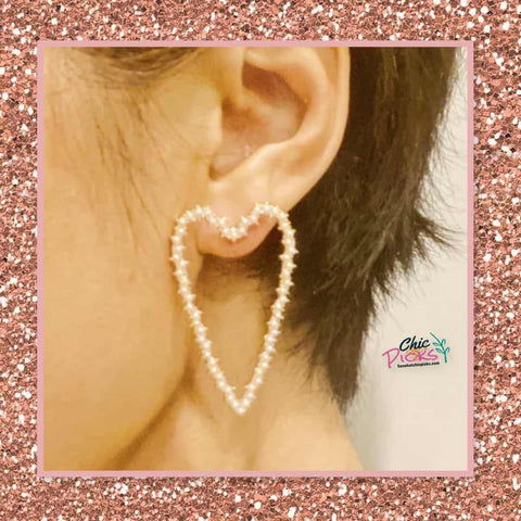 Ellison plus young two inch large gold heart shaped earrings covered in tiny pearl beads women's fashion jewelry and accessories at chic picks boutique
