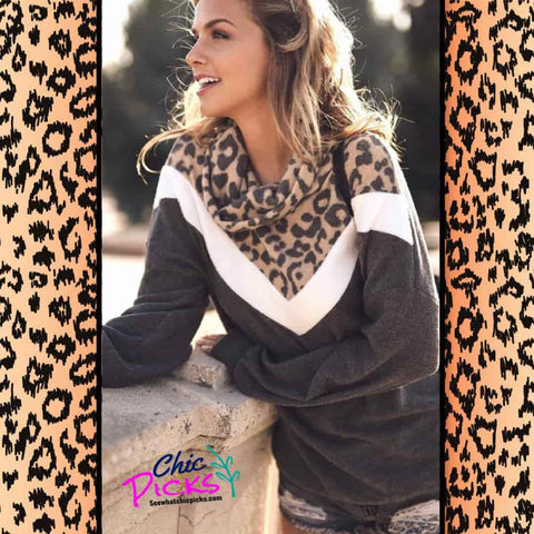 First Love Cheetah Animal Print Cowl Neck Pullover with white stripe chevron design women's fall winter fashion at chic picks