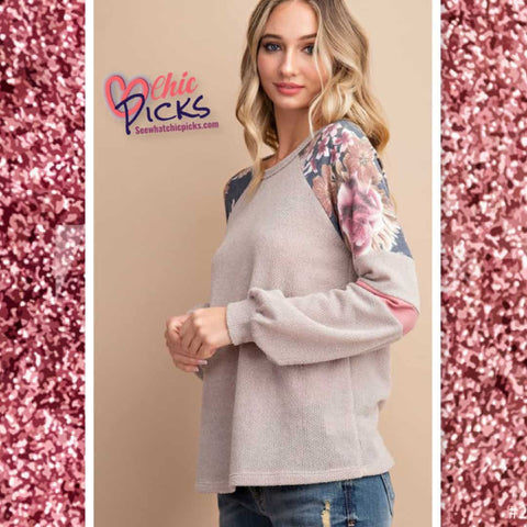 EEsome Charcoal Floral Color Color Blocked Fall Long Sleeve Top At Chic Picks