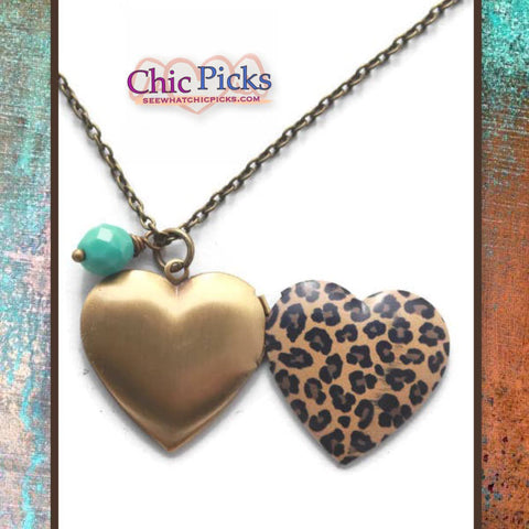Gleeful Peacock Animal Print Leopard Functional Heart Shaped Locket Women's Fashion Jewelry Necklaces Heart Shaped Locket At Chic Picks Boutique