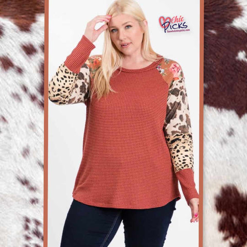 Hailey and Co Plus Size Hacchi and you know it two toned thermal knit rust top with floral leopard and cow.print Color Block long sleeves Women's fashion Color Block Curvy Plus Tops at chic picks boutique