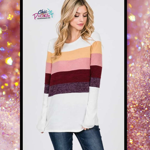 Hailey and Co Pretty Color-block Stripes White Sweater Women's fashion winter spring sweaters and tops at chic Picks boutique