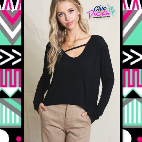 Black Hyped Unicorn Single Front Cross Strap vneck Pocket long Sleeve Top Women's casual fashion basic tops at chic picks boutique