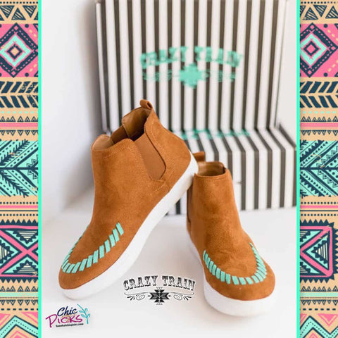 Crazy Train Clothing Big and Stitch Brown Kicks Brown Suede High Top Sneakers with Turquoise Stitch Detail Women's Fashion Shoes At Chic Picks Boutique