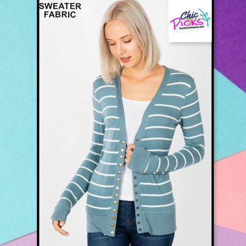 Zenana multiple Snap Front Ash Blue Sweater Cardigan women's fashion At chic picks boutique
