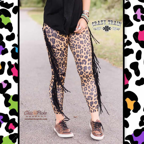Crazy Train Leopard Print Fringe Skinnies Chic Picks