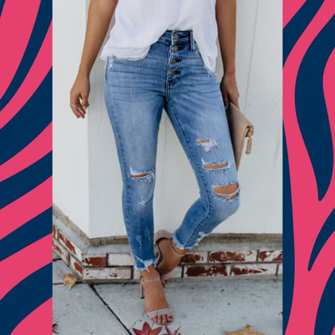 "KanCan Distressed Denim ""Eye KanCandy"" Light Wash Cropped Jeans with trending button detail closure at Chic Picks"