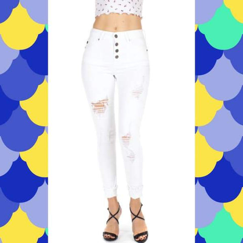 "KanCan-""KanCanna Lily White""-Distressed Button Fly Denim Jeans-Chic Picks"