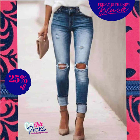 KanCan Skinny Distressed Medium Wash Denim Jeans Women's Fashion Trend Denim At Chic Picks Boutique