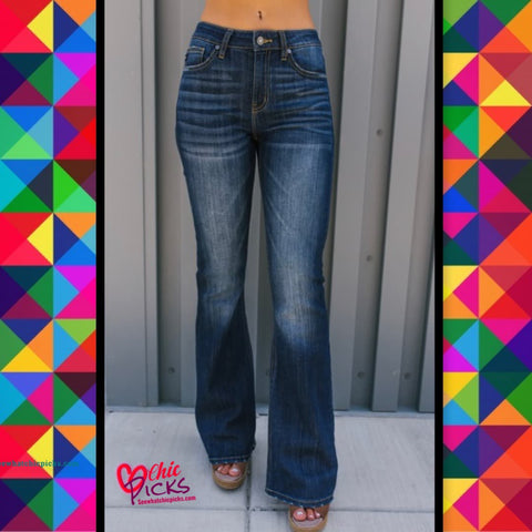 "KanCan ""KanCant Get Enough Of Your Love "" Flare leg Bootcut Dark Wash Denim jeans Women's Fashion Denim At Chic Picks Boutique"