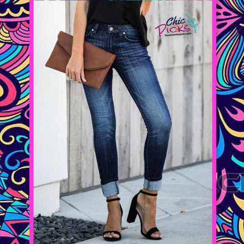 KanCan basic non distressed mid rise deep blue skinny jeans women's fashion denim at chic pucks women's latest fashion denim jeans at chic picks boutique