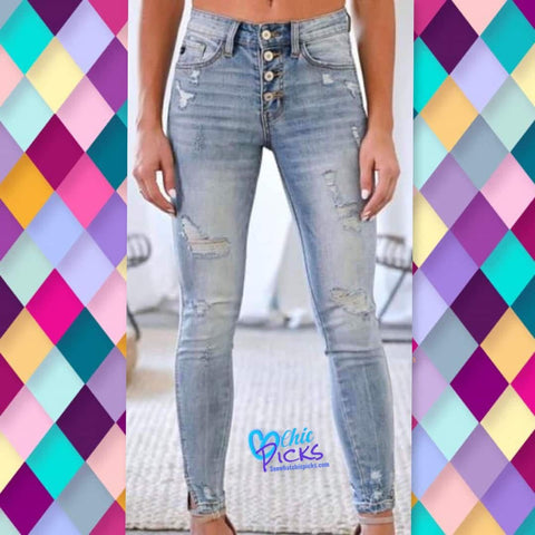 KanCan light wash button fly distressed twist hem denim skinny jeans KanCant You See Womens Fashion Denim Jeans at Chic Picks