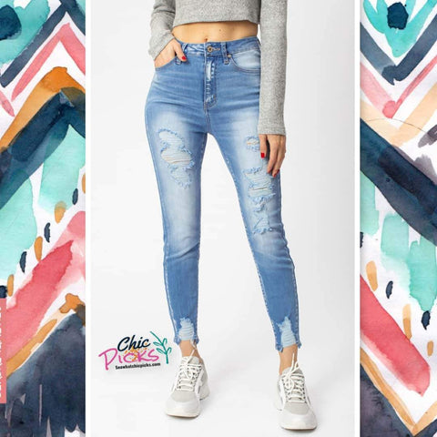 KanCan't Change Me Light Wash Distressed Denim High Waisted KanCan Jeans Women's fashion denim at chic Picks Boutique