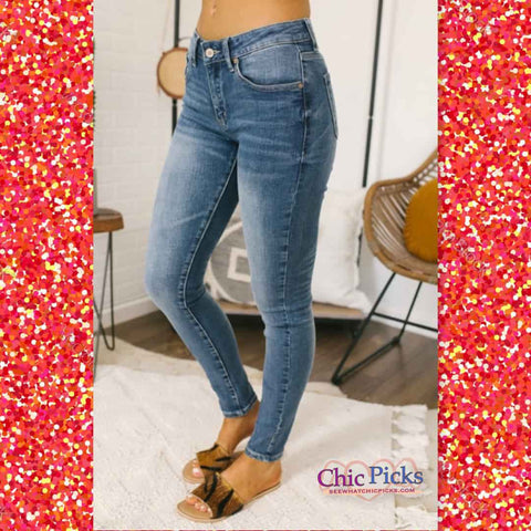 KanCan You KanCan't Always Get What You Want Basic Light Wash Skinny Jeans Women's Fashion Denim At Chic Picks Boutique