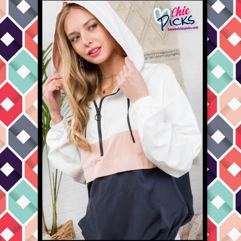 "Main Strip- ""singing in the rain"" Navy and blush color block half zip hoodie rain jacket with monogram option-Chic picks"