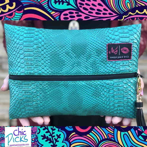 "Makeup Junkie Bags large Turquoise. Snakeskin Washable waterproof Designer Cosmetic makeup bag ""Turquoise Cobra"" Women's fashion Flat Cosmetic Makeup Beauty Bag with middle zipper at Chic  Picks Boutique"