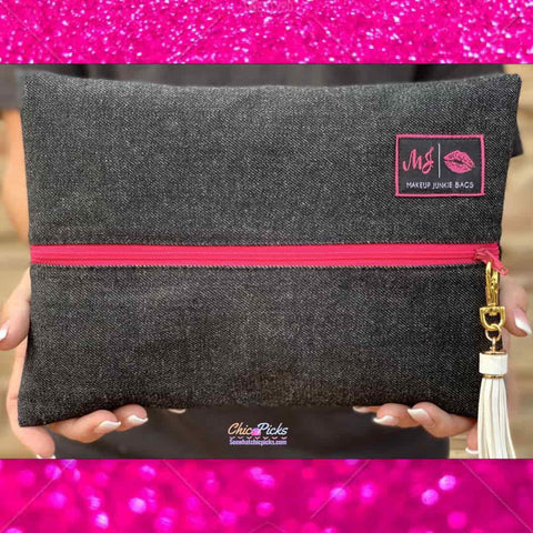 Makeup Junkie Bag Dark Denim with hot pink zipper women's Fashion Accessories At Chic Picks Boutique