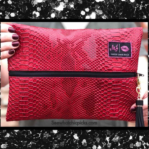 Makeup Junkie Bags Red Cobra Snakeskin Cosmetic Bag women's fashion Makeup Junkie bags at Chic Picks Boutique