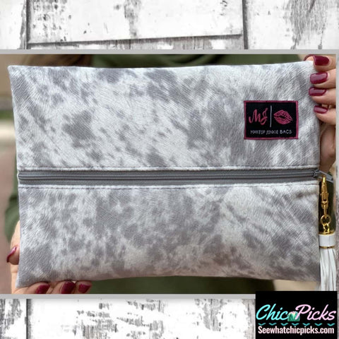 Makeup Junkie Bags Lola Grey cowprint Cosmetic Makeup Bag Women's Bags And Accessories at Chic Picks Boutique