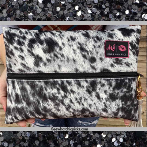 Makeup Junkie Bags Lola onyx cowprint Cosmetic Makeup Bag Women's Bags And Accessories at Chic Picks Boutique