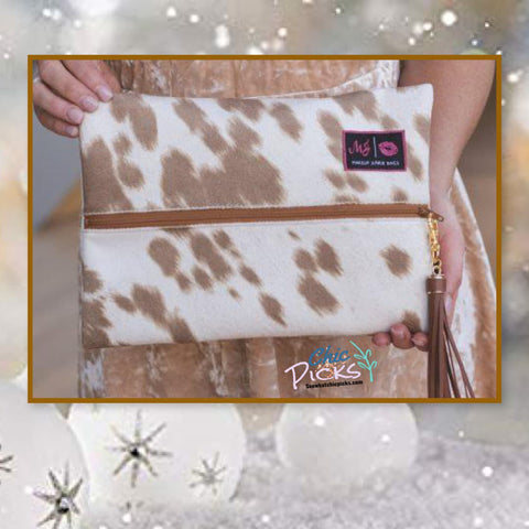 Makeup Junkie Bags Tan cowhide Cosmetic Bag Tan Your Hide Women's fashion Bags and accessories at chic Picks Boutique