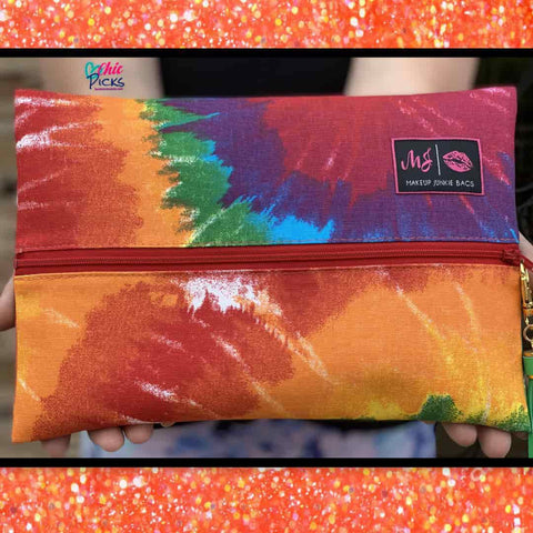 Makeup Junkie Bags Tie Dye Cosmetic Bag Women's Fashion accessories at chic picks boutique