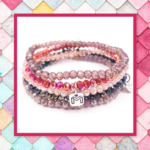 Mix Mercantile Designs Amore Mini Set Of 5 Faceted Glass mini Bead Bracelet Sets Women's Fashion Jewelry Bracelets At chic picks Boutique
