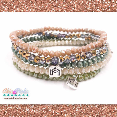 Mix Mercantile Designs Agave Mini Strand Set Of Five Faceted Glass Beaded Bracelets Women's Fashion Jewelry At Chic Picks Boutique