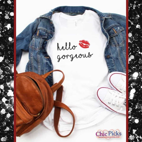 Hello Gorgeous short sleeve graphic tee with kiss lips accent women's fashion graphic T-shirt tops at chic picks boutique
