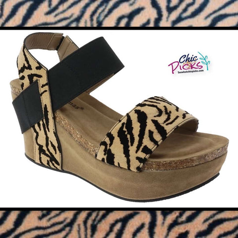 Pierre Dumas Tiger Animial Print Platform Wedge Sandals women's spring summer fashion shoes at chic picks boutique