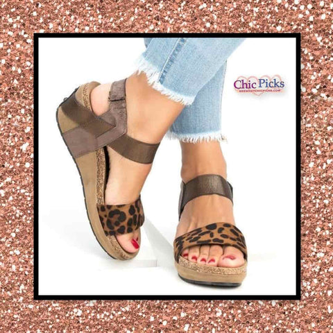 Pierre Dumas Metallic Strap Animal Print Leopard and Bronze Wedge Sandals women's fashion shoes at chic picks boutique