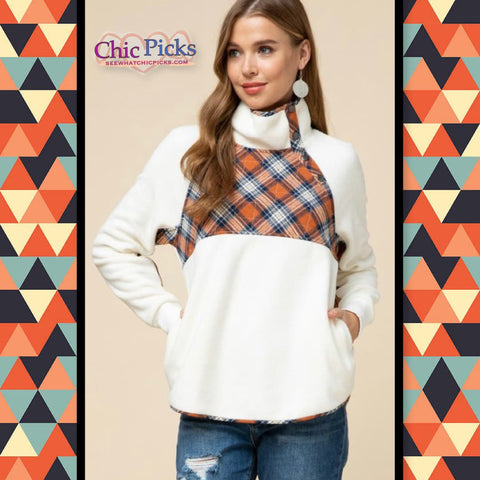 Entro Plaid Fleece Pullover Fall Color Block Sweater At Chic Picks