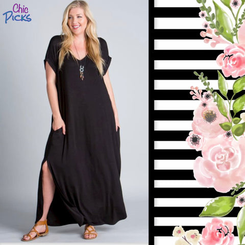 "Rae Mode Little Black Maxi Dress"" Curvy Plus Size Black Maxi Dress Women's plus size Fashion Dresses At chic Picks Boutique"