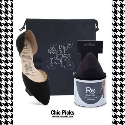 Rollasole Black D'orsey Foldable flats women's fashion shoes at chic picks boutique