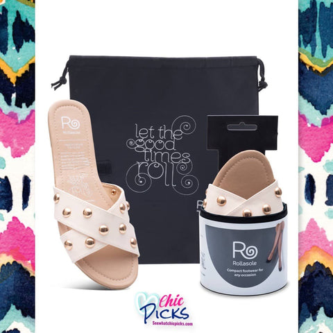 Rollasole Sandstorm Cream Studded Folding Compact Sandals women's fashion accessories and Summer sandals at chic Picks Boutique