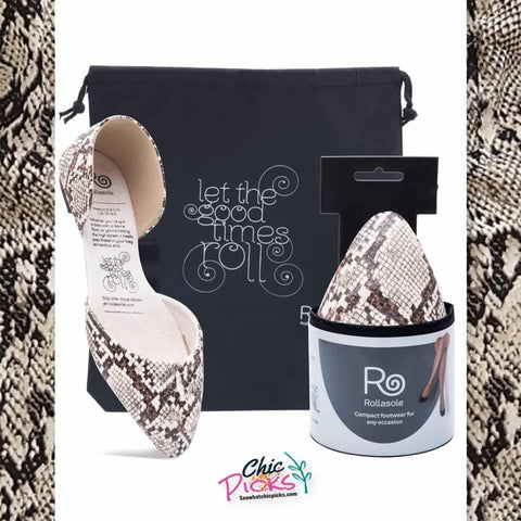 Rollasole Snakeskin Print Foldable D'Orsey Flat Women's Shoes and accessories at chic Picks Boutique